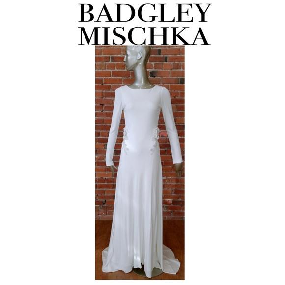 Badgley Mischka Dresses & Skirts - BADGLEY MISCHKA #EG1569A OPEN BACK L/S BEADED GOWN